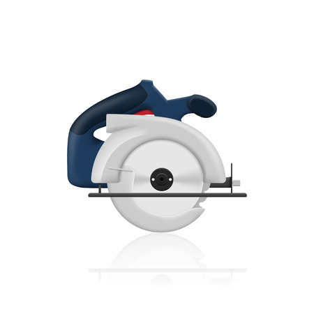 circular saw: picture of circular saw on white background, illustration
