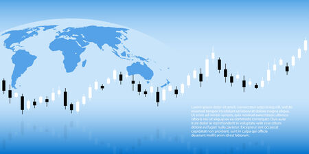 candlestick chart agaimst a planet, background for business, forex, investment theme Vector