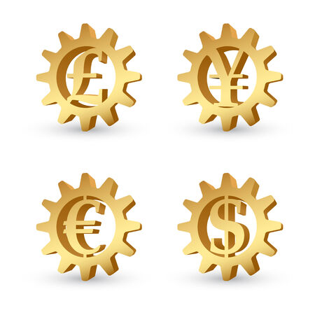 yen sign: Golden gears with signs of currencies inside