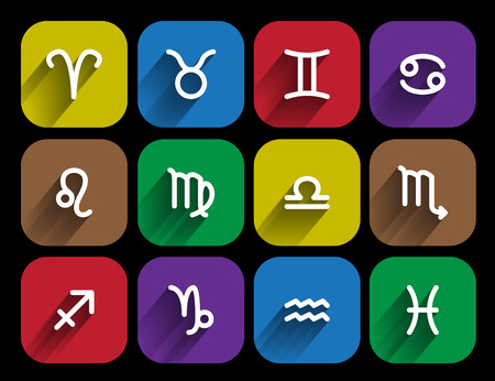 set of zodiac signs in flat style