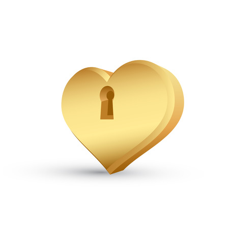 key hole: picture of golden heart with a key hole Illustration