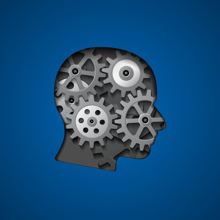 picture of head silhouette with gears inside it for creativity, thinking, knowledge and brain concept  Vector