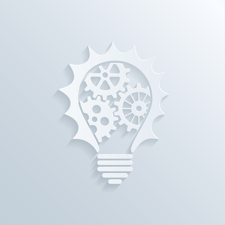 vector picture of paper lightbulb with gears and cogs inside, creativity teamwork and business concept