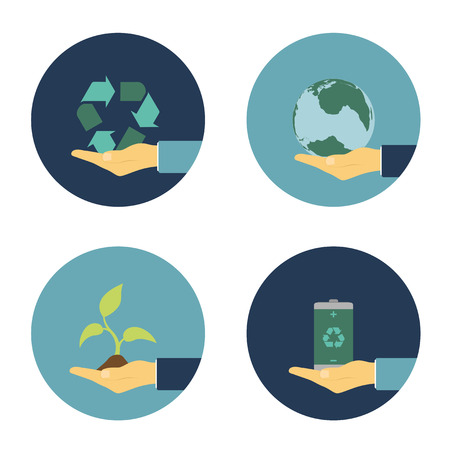 protect globe: set of flat icons with human hand holding recycling sign, eco battery, sprout and earth planet, ecology alternative energy concept Illustration