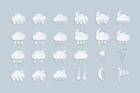 set of paper weather icons  vector  illustration Vector