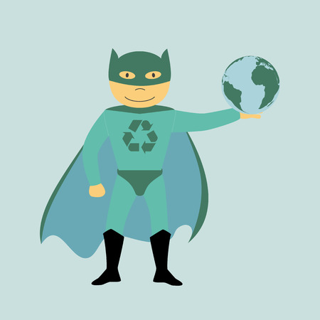 responsible: picture of superhero with recycling sign on the chest holding planet earth, ecology and recycling concept