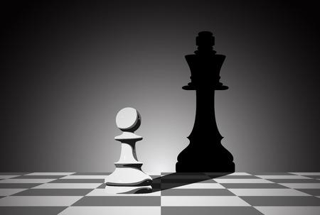 체스 전당포의 사진 여왕의 그림자를 떨어 뜨릴, strenght 열망과 leadeship 개념 일러스트