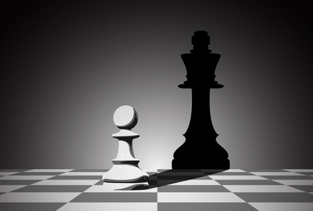 picture of chess pawn droping shadow of a queen, strenght aspiration and leadeship concept