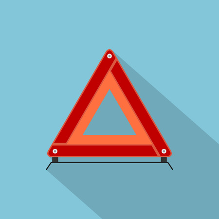 warning triangle: picture of automobile emergency stop sign, flat style icon