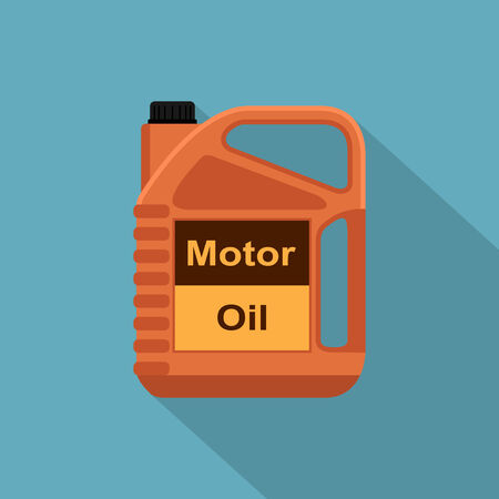 motor oil: picture of motor oil tank, flat style icon