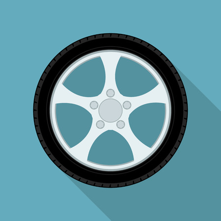 picture of car wheel, flat style icon Vector