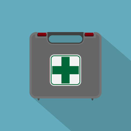 picture of car first aid kit, flat style icon Vector