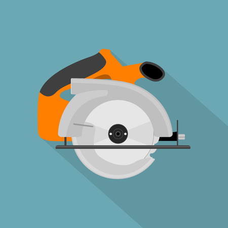 metal cutting: picture of circular saw, flat style icon