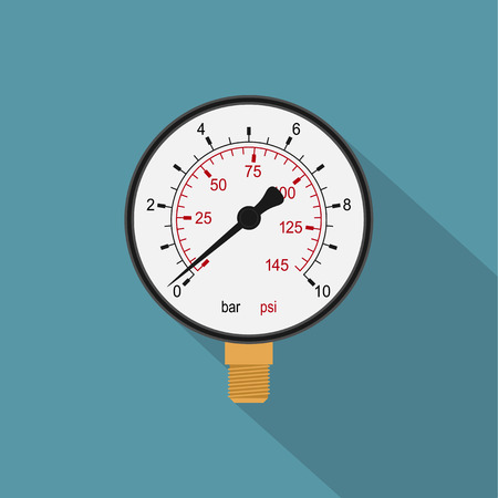 pressure gauge: picture of a manometer, flat style icon