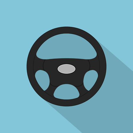 picture of a black steering wheel, flat style icon