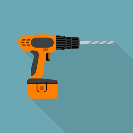 drill bit: picture of cordless screwdriver with auger, flat style icon