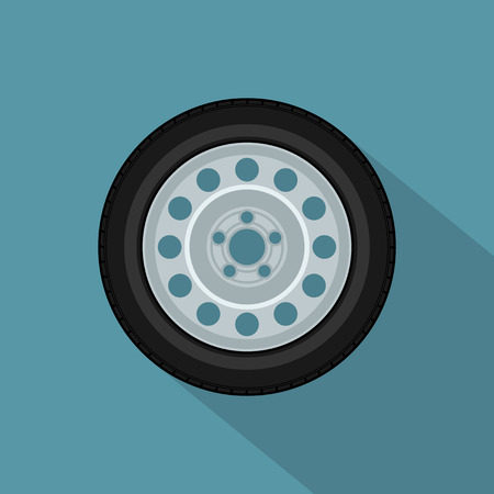 picture of a car wheel, flat style icon