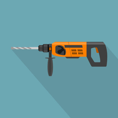 power tool: picture of electric drill, flat style icon Illustration