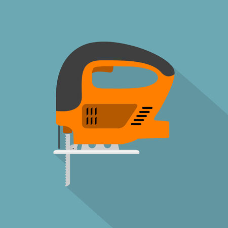 jig saw: vector picture of fret-saw, flat style icon Illustration