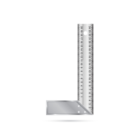 millimetre: photorealistic vector picture of angle ruler isolated on white background