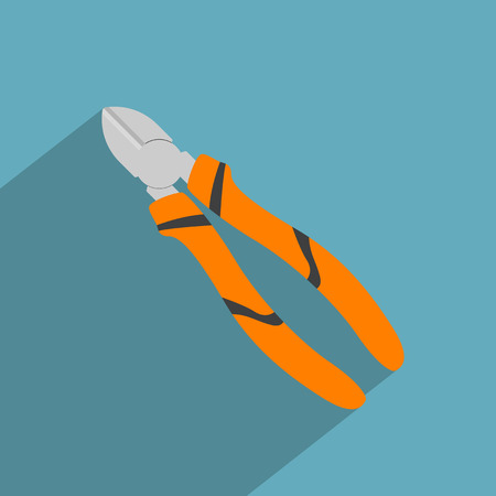 pincer: vector picture of cutting pliers, flat style icon