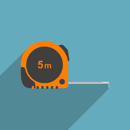 tape measure: vector picture of industrial measure tape, flat style icon