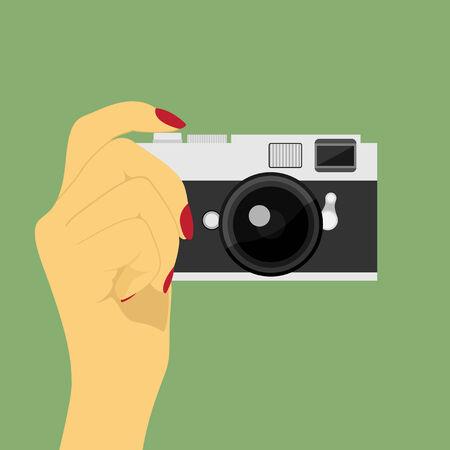 인간의 손에: 인간의 손의 벡터 그림 사진 카메라를 들고, 플랫 스타일 아이콘