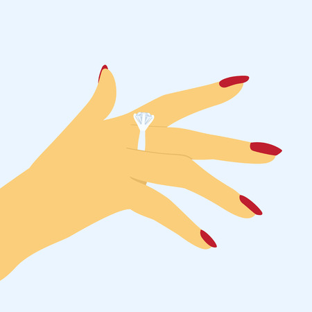 finger ring: vector picture of female hand with ring on the finger, flat style icon