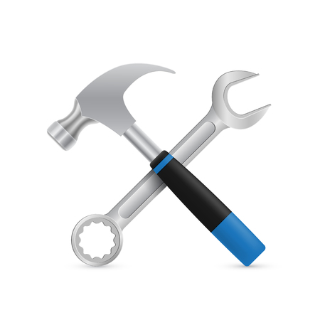 adjusting screw: picture of crossed industrial hammer and wrench