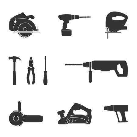 molinillo: conjunto de iconos de la silueta de la tela en blanco y negro de herramientas destornillador, sierra de calar, sierra circular, taladro, amoladora angular, ventilador industrial, jack, hummer y alicates Vectores