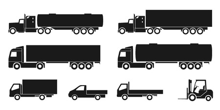 set of black and white silhouette icons of trucks