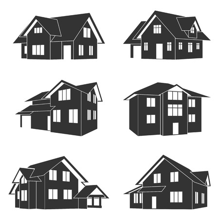 set of black and white silhouette icons of houses