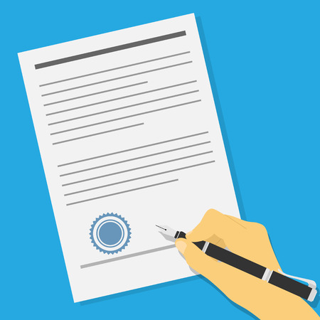 picture of human hand holding an ink pen and signing contract or offer agreement