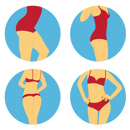 sexy bikini girl: set of flat style icons with women