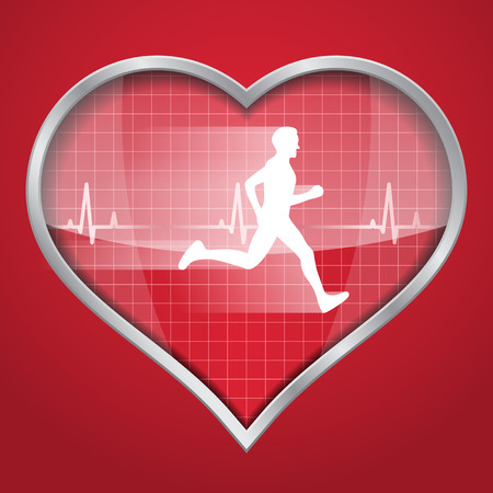 picture of a heart silhouette on red background with white running man inside it and a heartbeat diagram