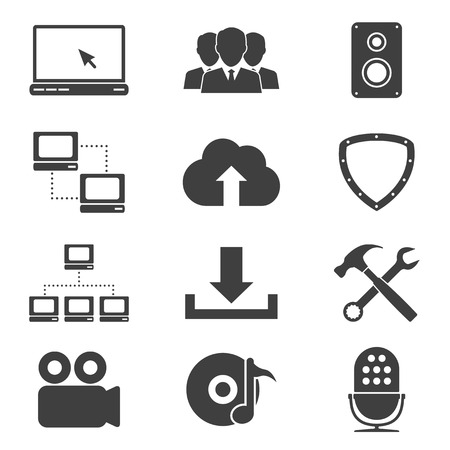 comunity: set of different black and white sillhouette web icons, network, video, comunity, cloud servise, downloads, audio, antivirus, support, radio