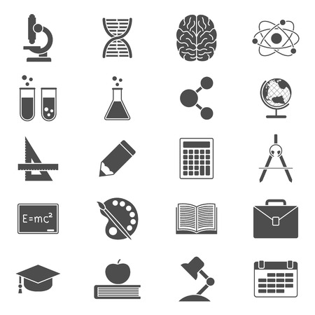 reading lamp: set of black and white silhouette icons on school, science, study, education and knowledge theme