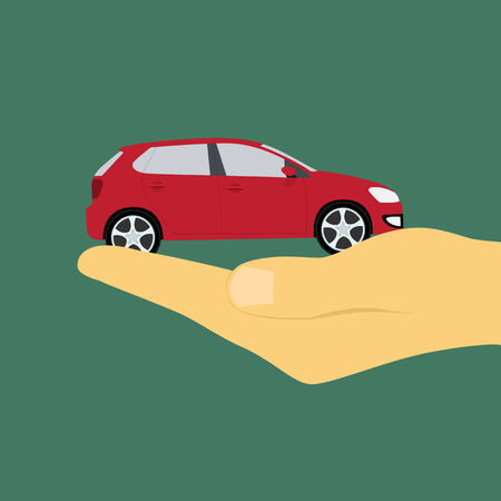 dealership: picture of a human hand holding a car