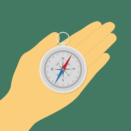 flat style picture of human hand holding compass Vector