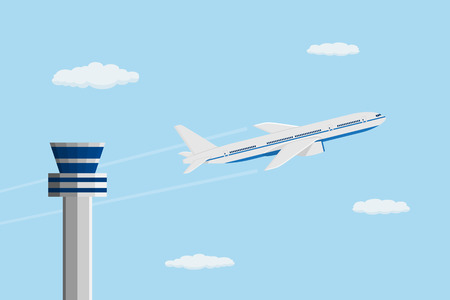 flat style picture of civilian plane in front of control tower, traveling and transportation concept