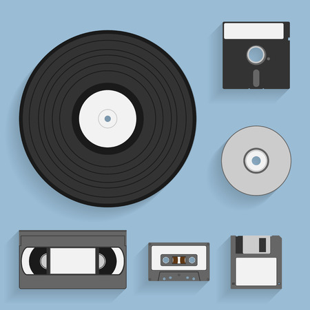 record albums: set of flat style icons of vintage data carriers