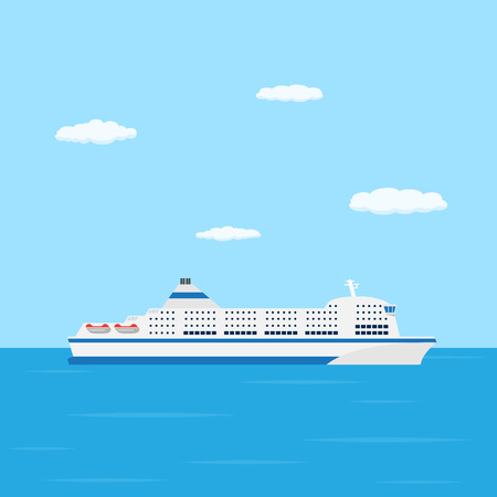 a flat style picture of farry boat in the sea, traveling and transportation concept Illustration