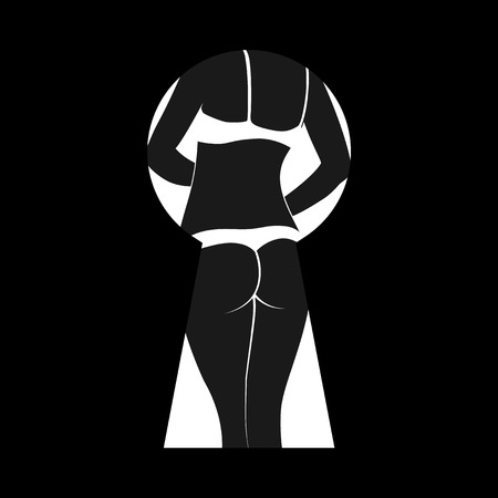 photo d'un trou de serrure avec femme nue silfouette l'intérieur