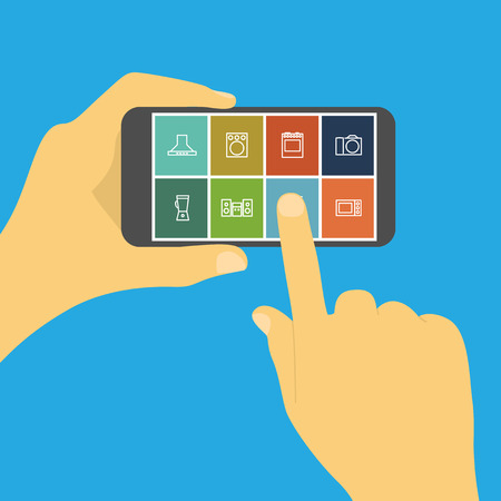 picture of human hand holding mobile phone with household appliances icons, online shopping, e-commerce concept Ilustração