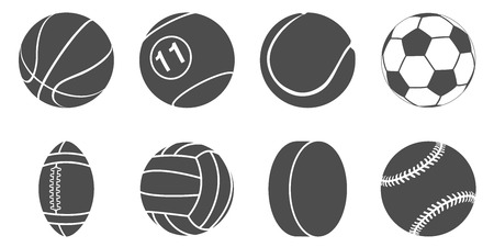 set of black and white silhouette sport items icons