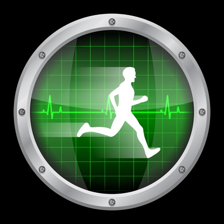 heart rate: picture of a glass display on black background with white running man inside it and a heartbeat diagram