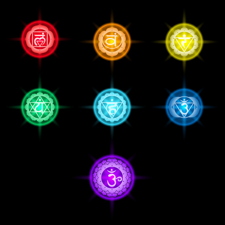sahasrara: set of colorful chakras icons