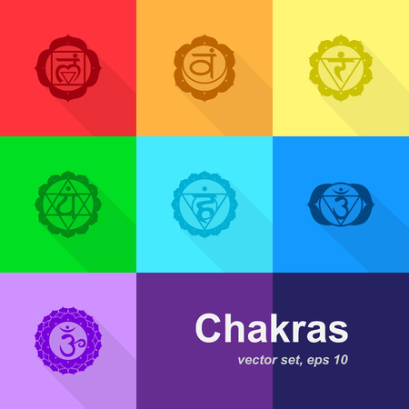 vishuddha: set of colorful chakras icons