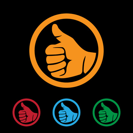 best hand: set of flat style icons with human hand showing thumbs up sign Illustration