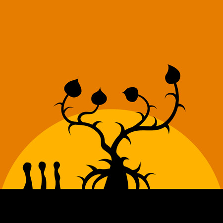 humanoid: sihouette picture of fantastic tree with three humanoid figure in front of sunrise Illustration